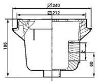 Донный слив квадратный 212 мм